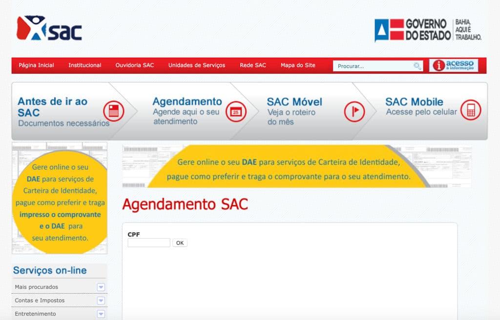 Agendamento SAC Bahia