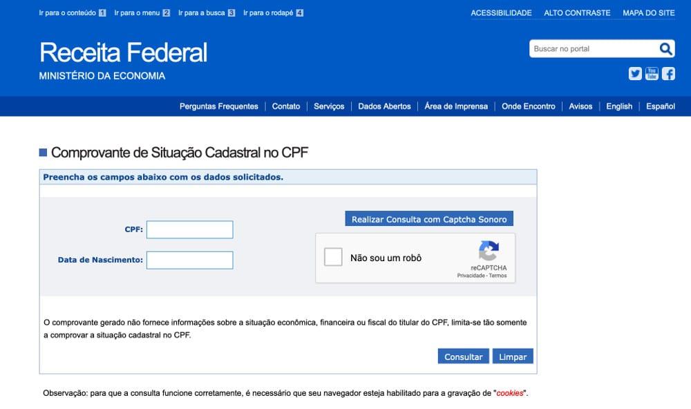 Como verificar situação cadastral do CPF grátis pela internet