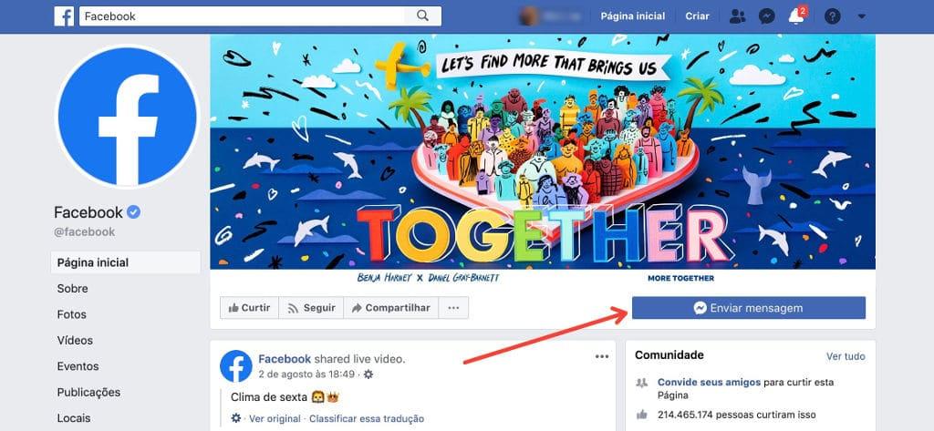 Entre em contato com o Facebook através de suas páginas oficiais