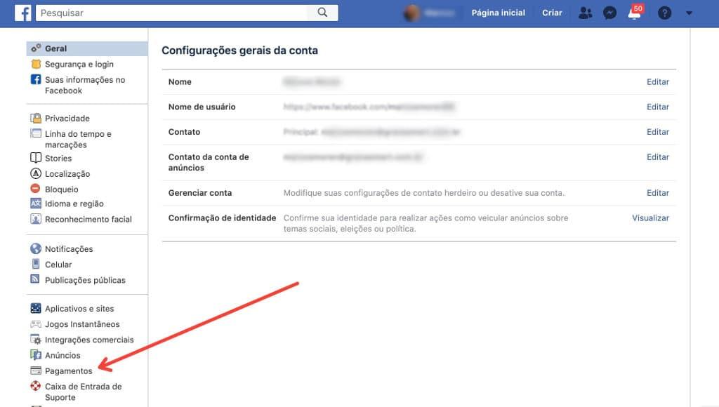 Como faço para configurar, solicitar e enviar dinheiro pelo Facebook