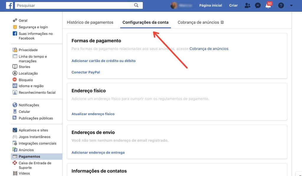 enviar dinheiro através do Facebook