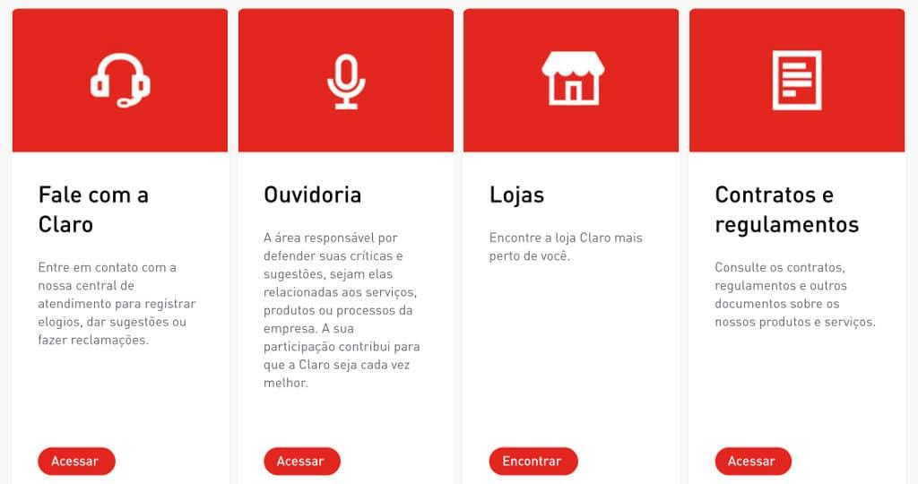 O que você encontra nosite da Claro.com.br