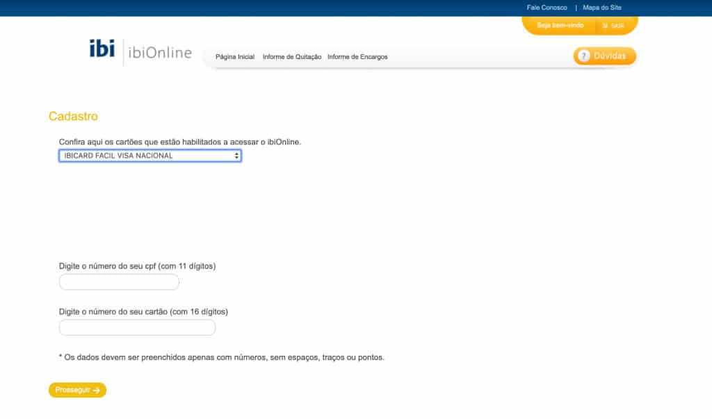login na plataforma do site IbiOnline e ibicard