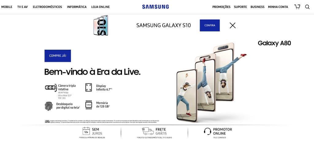 Site Samsung online Atendimento Brasil