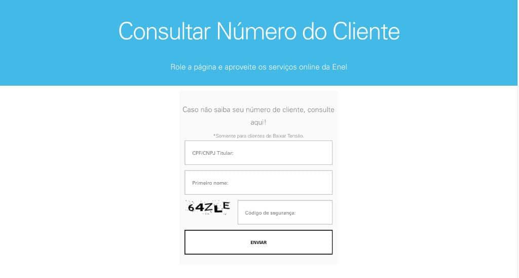 Como consultar número cliente COELCE / ENEL