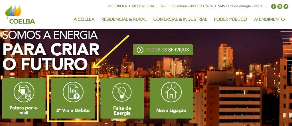 tirar Segunda via virtual COELBA pelo site